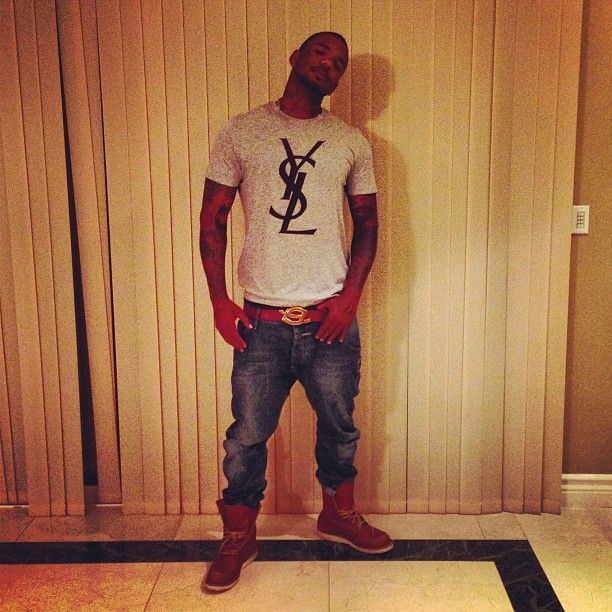 The Game Ysl Tee Ysl Logo Belt Denim Jeans And Red