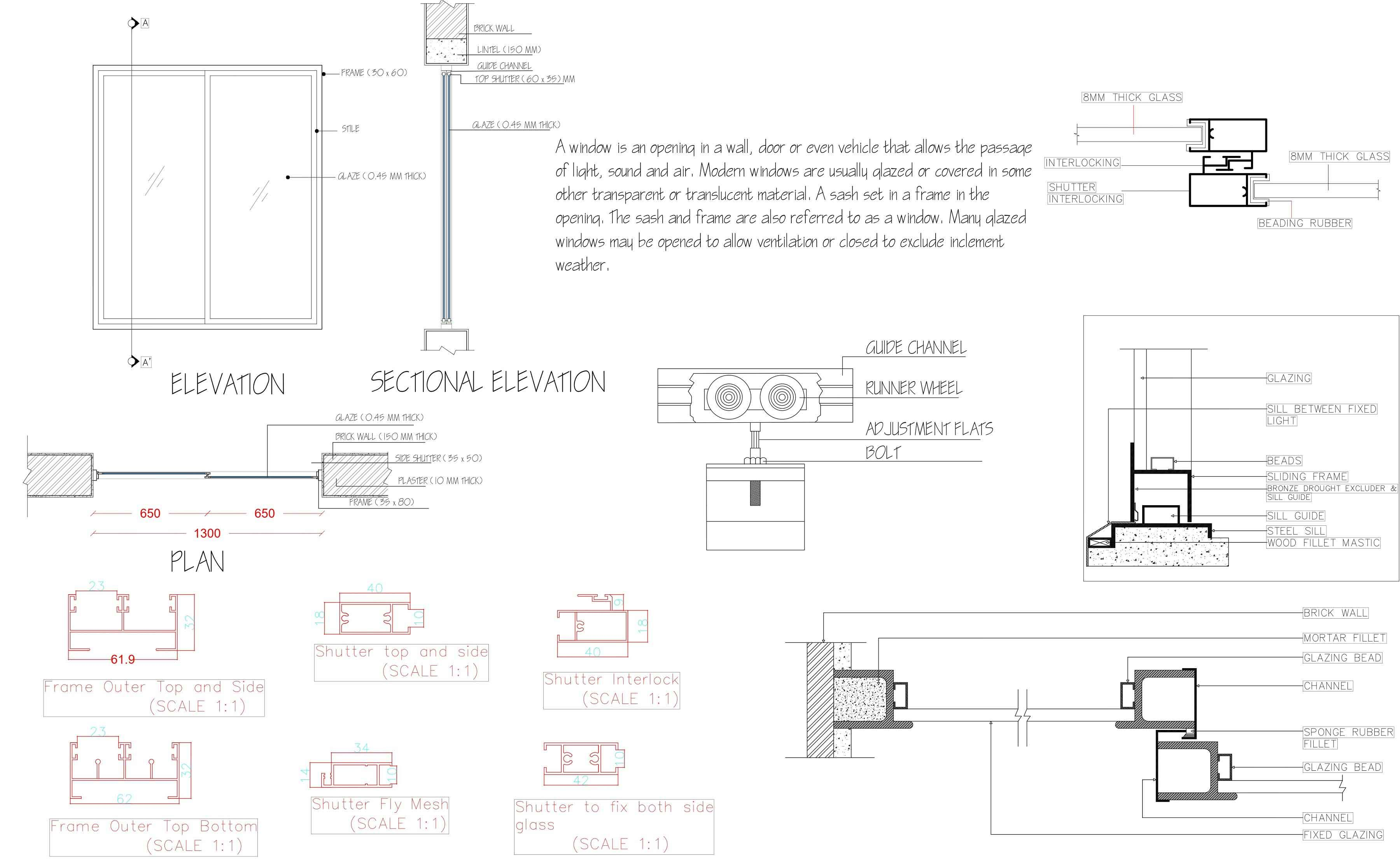 Sliding Window Plan Elevations Sections With All Fixing Details In 2021 How To Plan Sliding Windows Windows