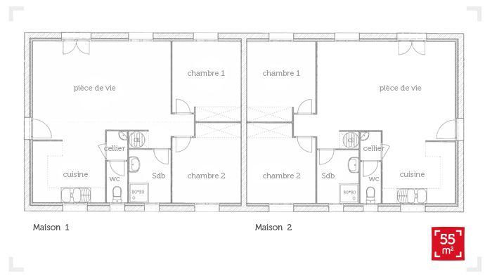 plan de maison 55m2
