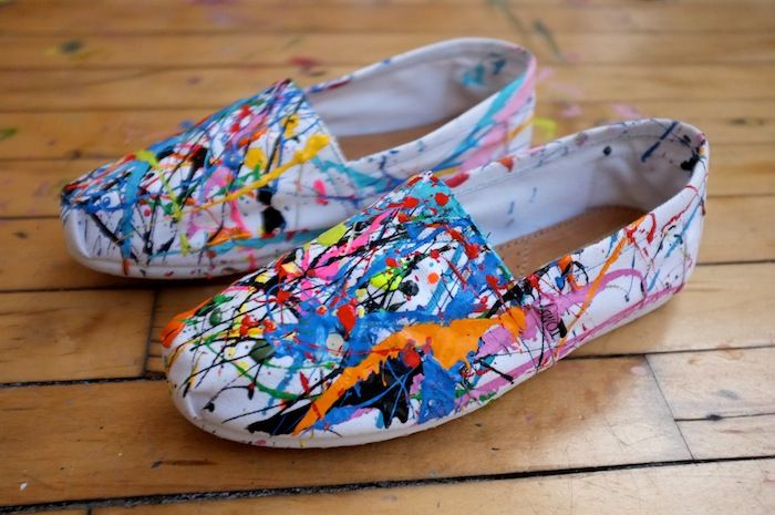 Sketch42 — SPLAT! DIY Splatter Sneaks.  I am going to do these, but I won't use an expensive pair of Tom's!  I bet my $7.99 pair of canvas shoes from K-mart will look just as good!! Ordered my shoes today, buying my paint tomorrow, painting this weekend!  I WILL BE STYLIN'!!!!!