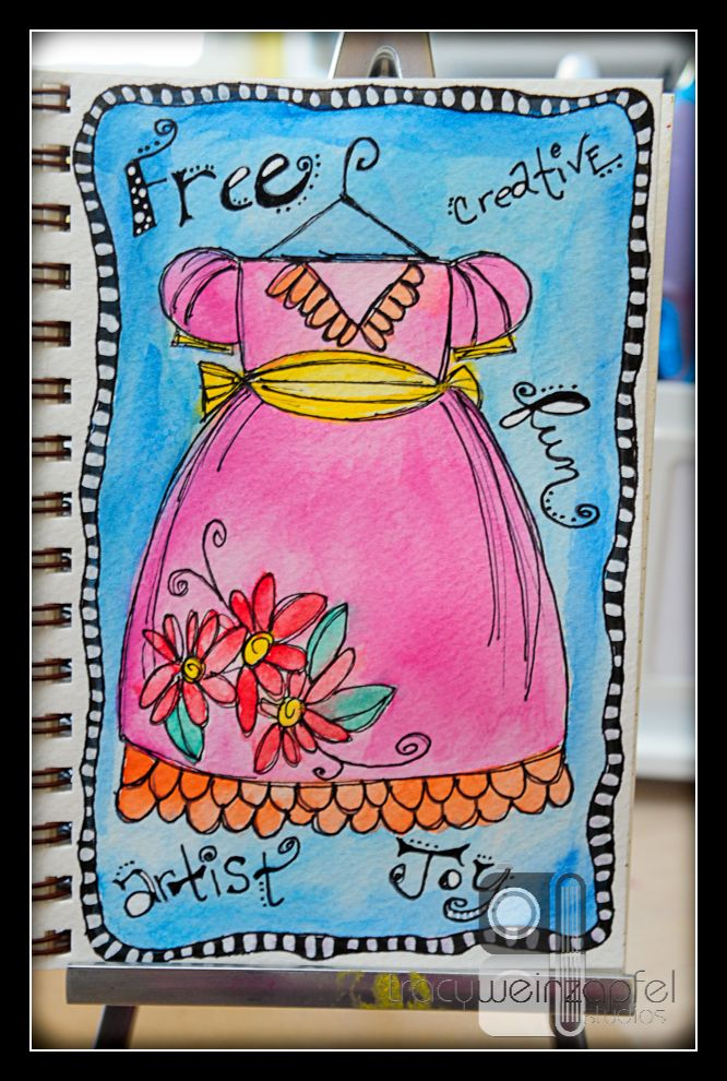 love this apron & colors/waterclr. will try this with wc Simply sweet!