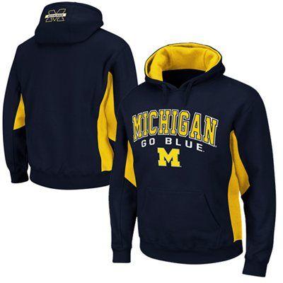 Michigan Wolverines Turf Fleece Pullover Hoodie - Navy Blue | U of ...