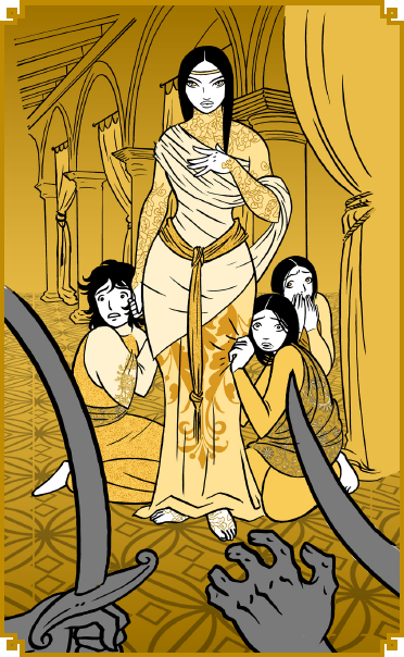 The Queen and the Bandits, from 1001 Nights by Meguey Baker. Art by Claudia Cangini http://claudiacangini.deviantart.com