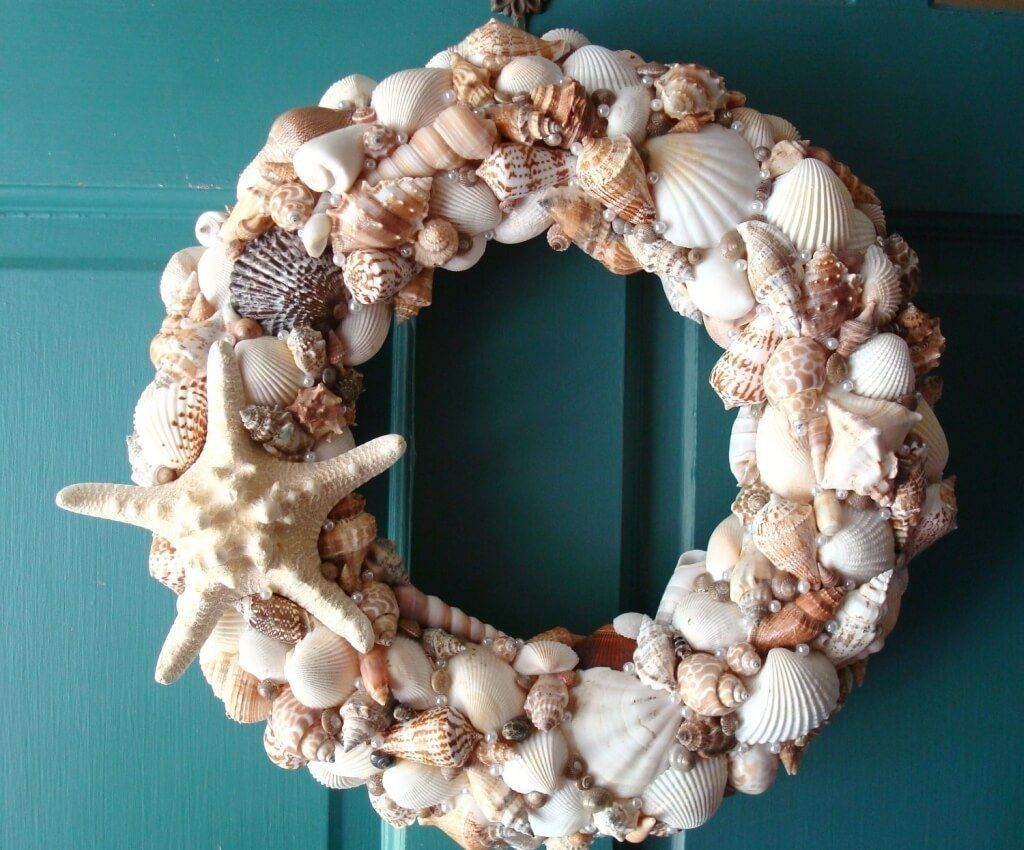Stunning Outdoor Seashell Wreath For Black Entry Door Shell Wreath Pier 1 Seashell Wreaths Wholesale Shel Seashell Wreath Seashell Wall Decor Wreaths For Sale