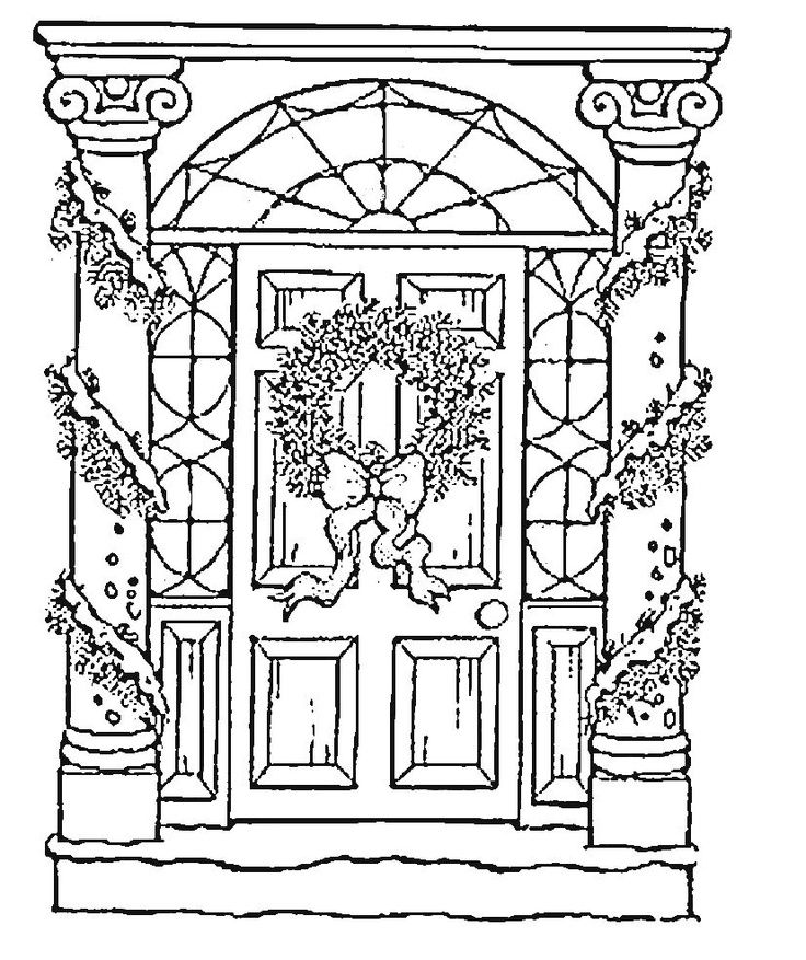 coloring pages of door - photo#15