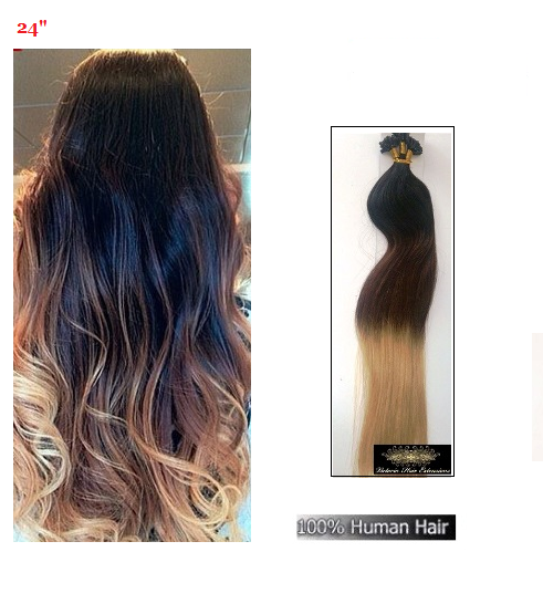24 60cm 100S 1g Each OMBRE Pre Bonded Remy Nail Tip Hair
