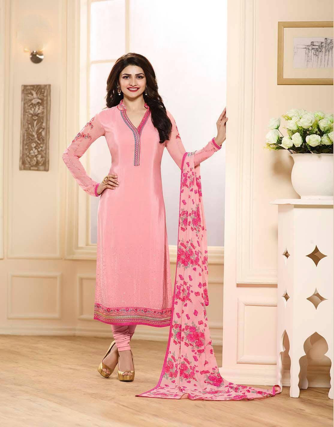 Prachi desai exclusive pink royal crepe embroidery suit   Salwar ...