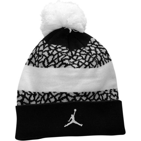 40b29478 Jordan Jumpman Striped Beanie Adult (370 ZAR) ❤ liked on Polyvore featuring  accessories, hats, beanie, jordan, striped beanie hat, pom beanie, ...