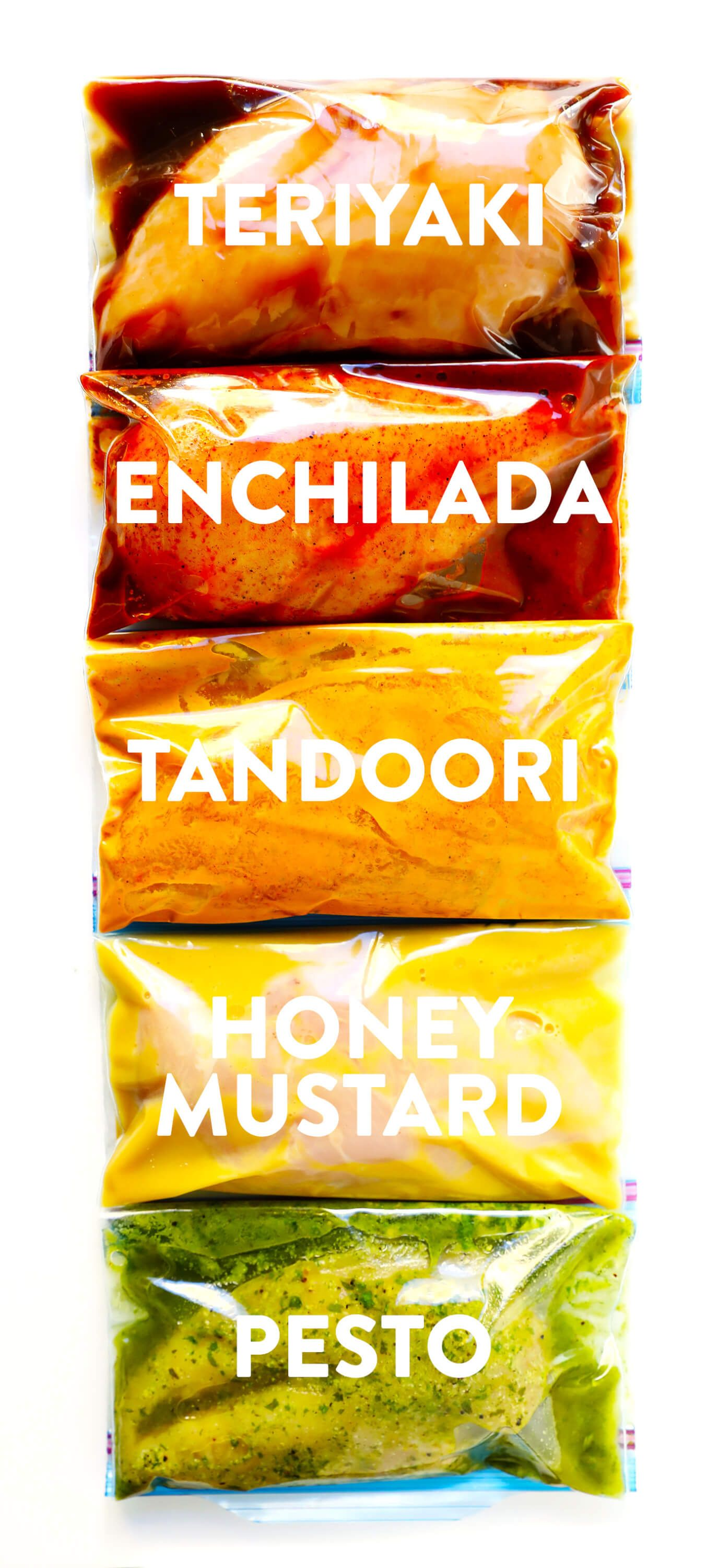 These 5 Easy Chicken Marinade Recipes -- Teriyaki, Enchilada, Tandoori, Honey Mustard and Pesto -- are freezer-friendly (perfect for meal prep), naturally gluten-free, easy to make, and SO delicious. Perfect for chicken, steak, pork, and tofu. And flexible for baked, grilled, sautéed, or slow cooker chicken. | Gimme Some Oven #chickenrecipe #bakedchicken #marinaderecipe #chicken #glutenfree
