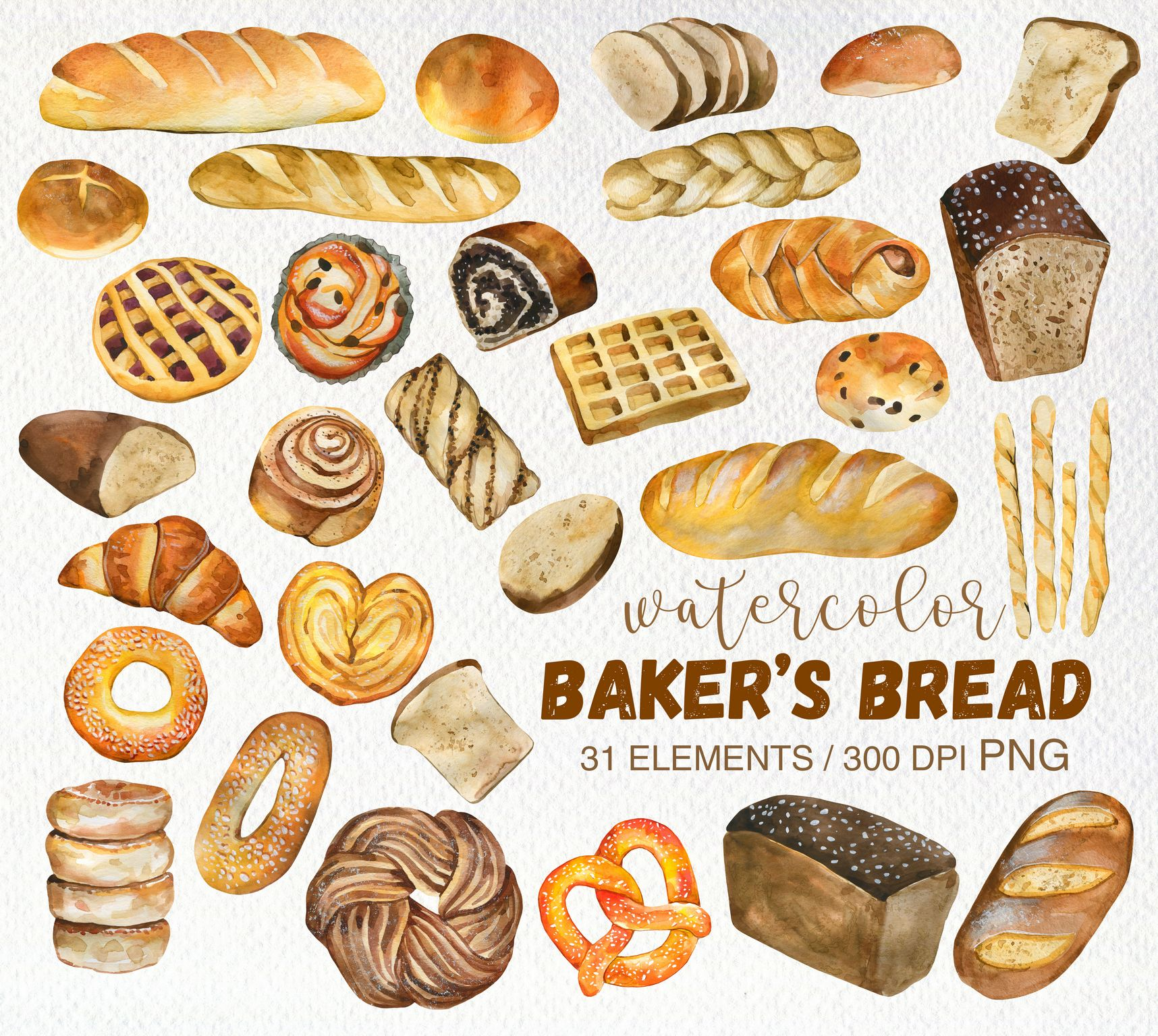 Watercolor Bread Clipart Png Watercolor Bakery Png Bread Etsy In 2020 Food Illustrations Bakery Clip Art