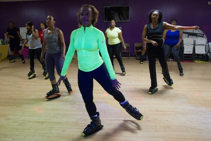 Mia Trevillion's GrooveBounceFun using Kangoo Jumps rebound shoes. I love this workout.