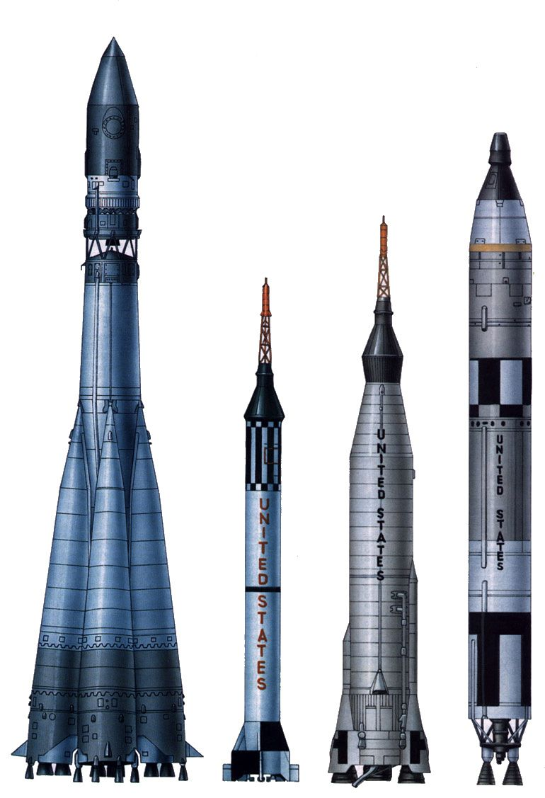 The first four rocket designs used to launch man into space (L-R): Vostok (USSR 1961), Mercury-Redstone (US 1961), Mercury-Atlas (US 1962), Gemini-Titan (US 1965)