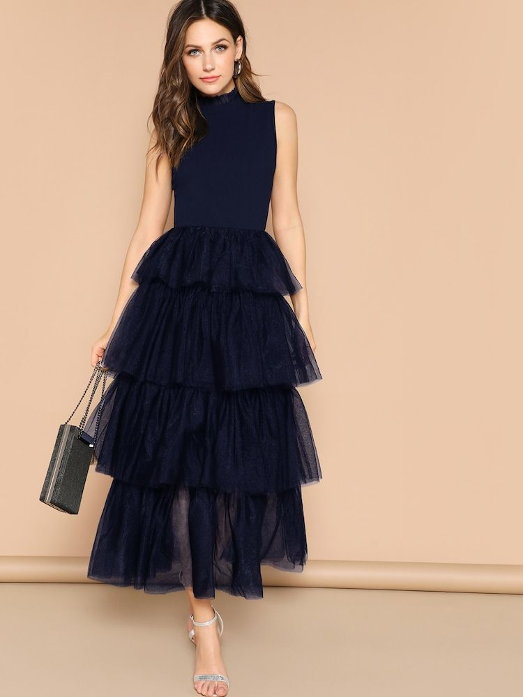 Frilled Neckline Layered Mesh Ruffle Hem Dress Black Tulle Dress Fancy Dresses Elegant Dresses