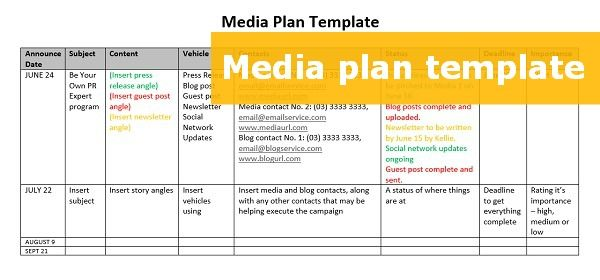 Media Plan Template Social Media Action Plan Template Success