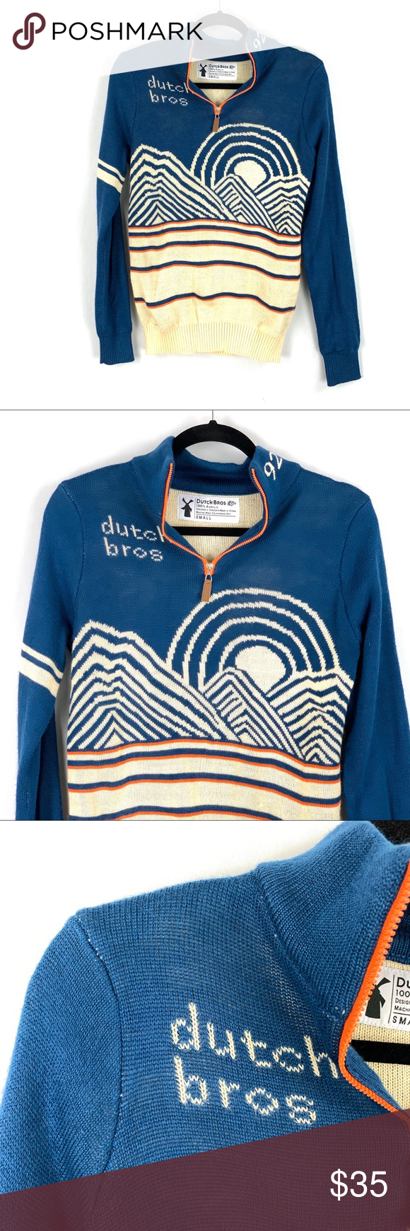 Dutch Bros Coffee | Unisex 1/4 Zip Sweater Dutch Bros Coffee - Dutch Brothers - Unisex 1/4 Zip Sweater - Small - Blue Cream Orange - Mountain Sunrise Graphic - 92 - Long Sleeve   Note: Gently pre-owned, no rips, holes or stains. Some of the white stitching can be seen at the blue seams; please see photos as part of description.  Content: 100% Acrylic  Measurements: (Laying Flat) Underarm to Underarm:~19 Shoulder to Shoulder:~16 1/2 Sleeve Length:~27 Length:~27 Dutch Bros Sweaters #dutchbros #dutchbros
