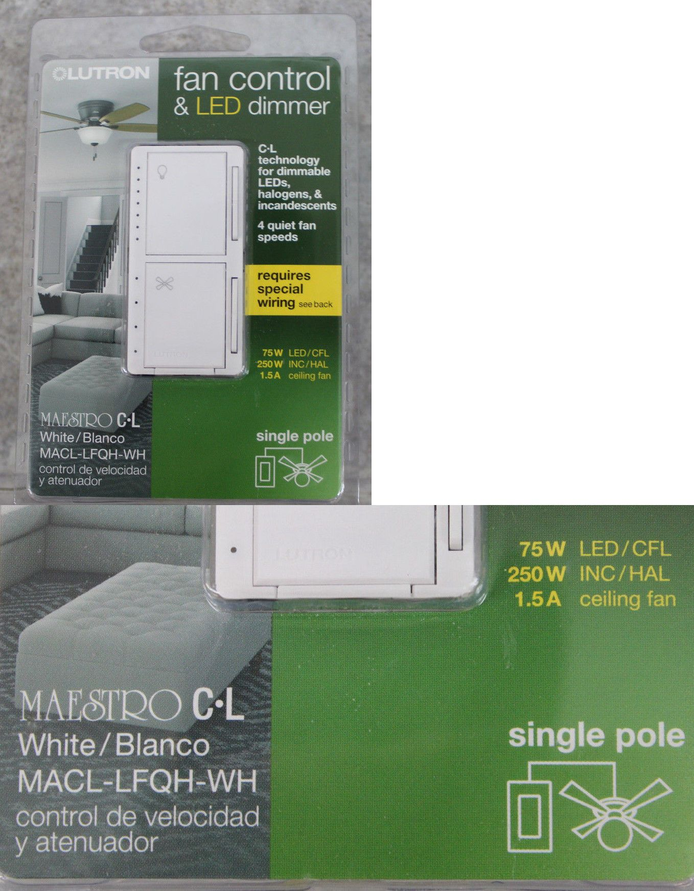 small resolution of dimmers 41984 lutron maestro fan control and led dimmer white macl electrical