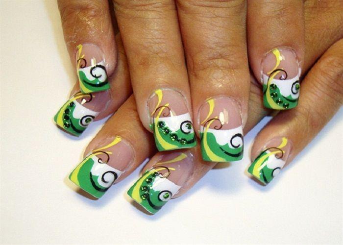 Easy Green Airbrush Nail Designs Nails Pinterest Airbrush