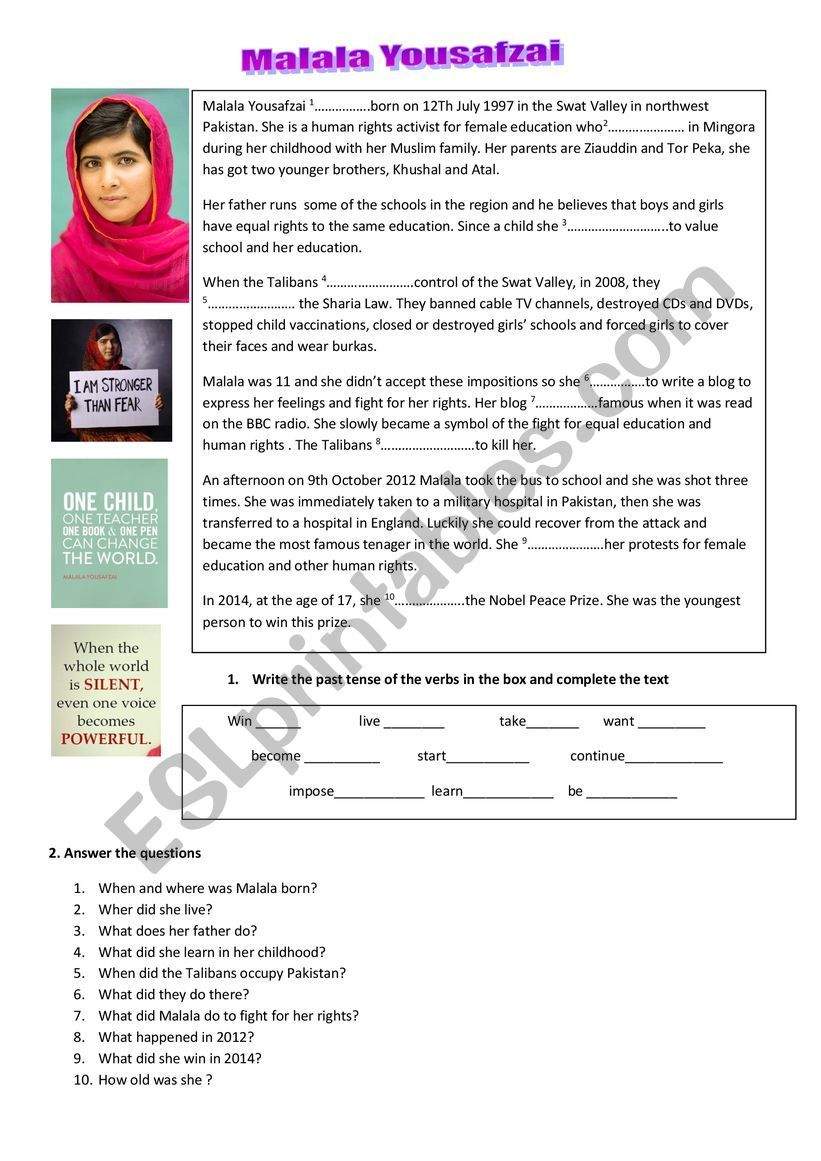 Malala Yousafzai - ESL worksheet by gabriella.ceschin ...