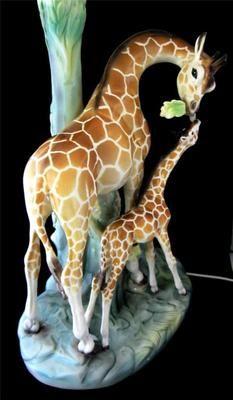 Large Vintage Italian Ronzan Ceramic Giraffe Amp Calf Lamp