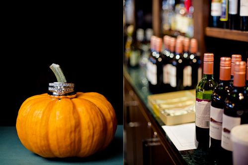 A pumpkin-shaped gourd shows off Nicole & Brian's rings at their November wedding -- photo by Andy Stenz