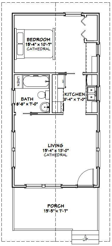 16x32 Tiny House -- 511 sq ft -- PDF Floor Plan -- Model 2A