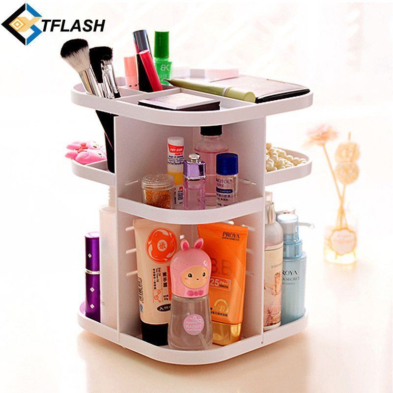 Korean Style Tabletop 360 Degree Rotating Large Capacity Cosmetic Organizer  Box For Skincare Bathroom Makeup Storage