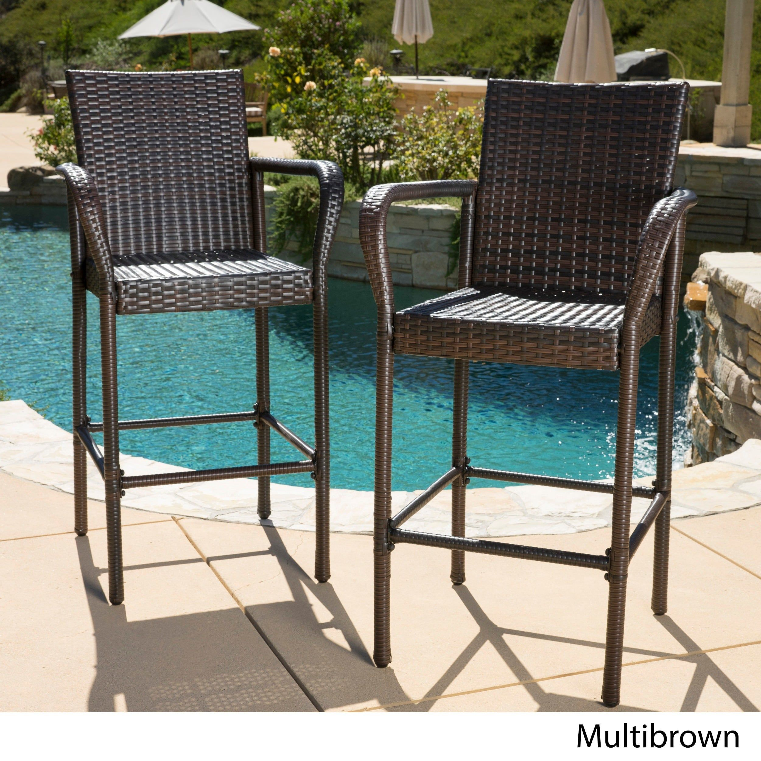 Delfina Outdoor Wicker Bar Stool (Set of 2) by Christopher Knight ...