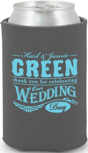 Thank You For Cebrating Our Wedding Day Can Cooler Favors Koozies