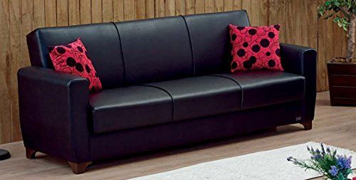 Tufted Sofa Empire Furniture USA Harlem Collection Modern Convertible Folding Sofa Bed with Storage Space Includes Pillows