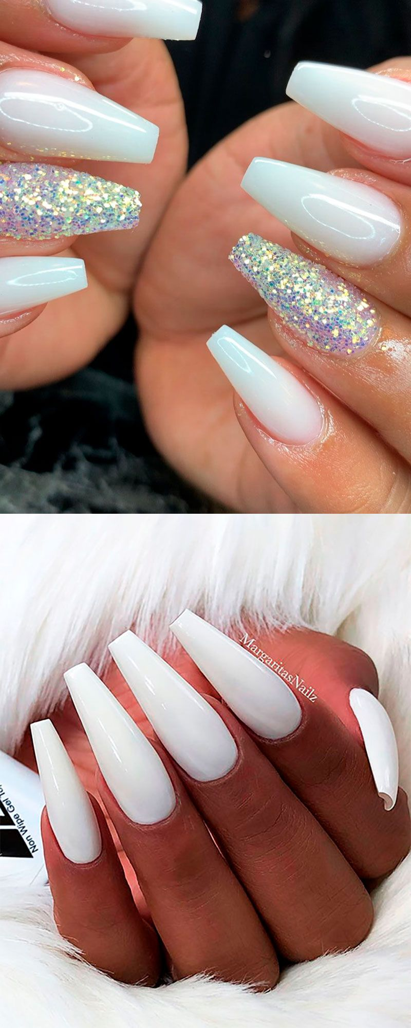 120 Best Coffin Nails Ideas That Suit Everyone White Coffin Nails Shiny Nails Designs White Acrylic Nails With Glitter