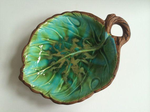 Decorative Leaf Bowl Amusing Sold  Vintage Treasure Craft Decorative Leaf Bowl Decorating Design