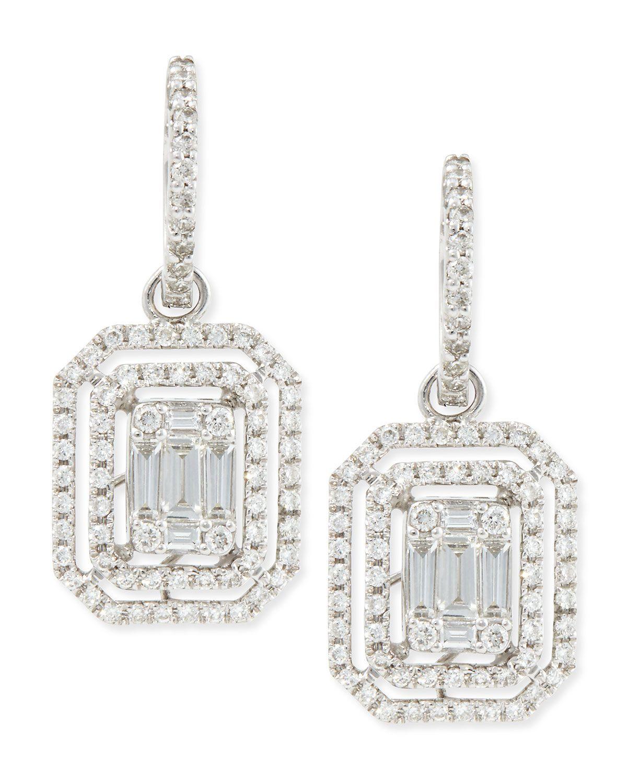 Emerald Cut Diamond Hook Earrings With Illusion Setting