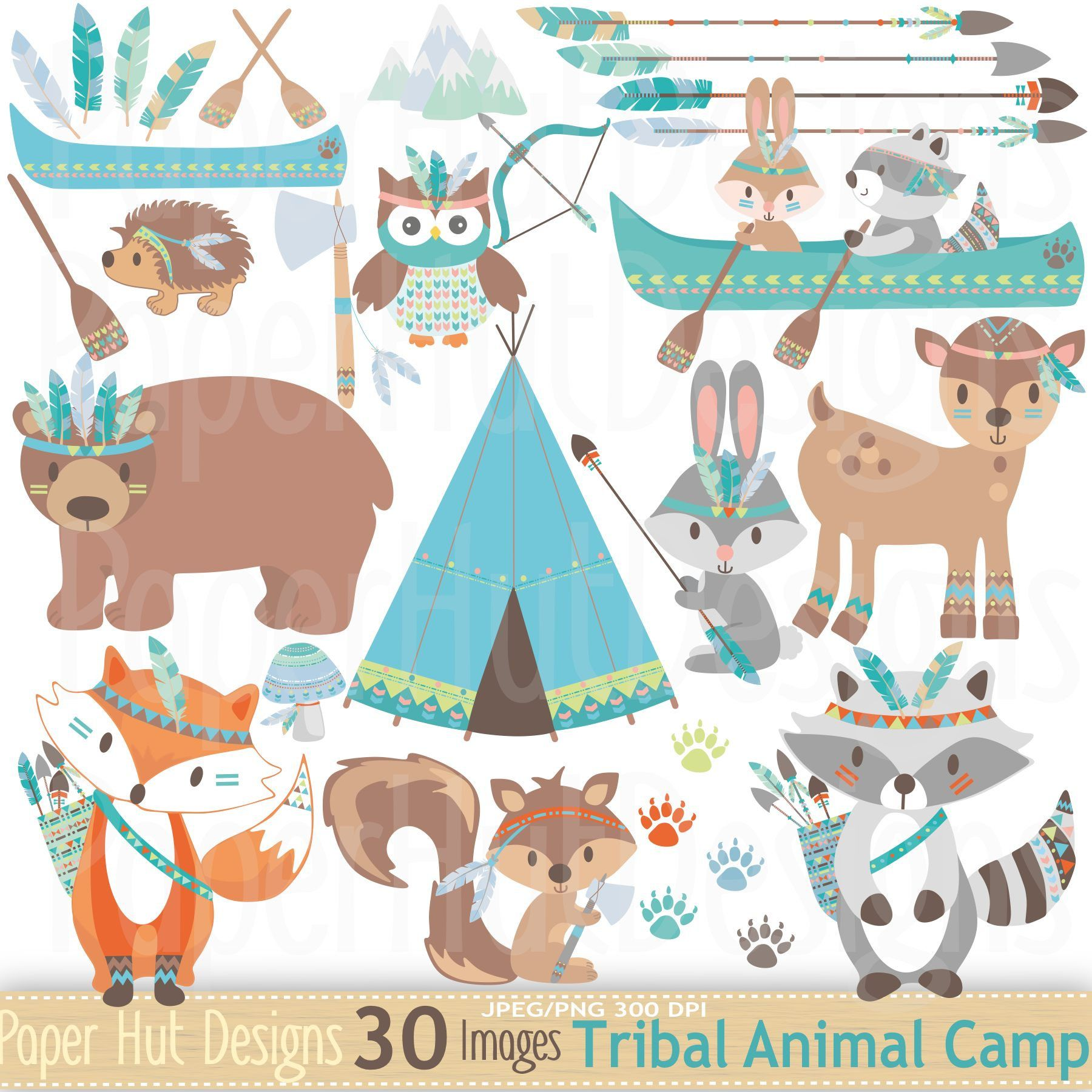 Bottle brush woodland animals - Tribal Animals Clipart Woodland Animals Camping Clip Art Cute Tribal Forest Animals Fox Bear Rabbit Racoon Owl Deer Canoe Arrows Feathers