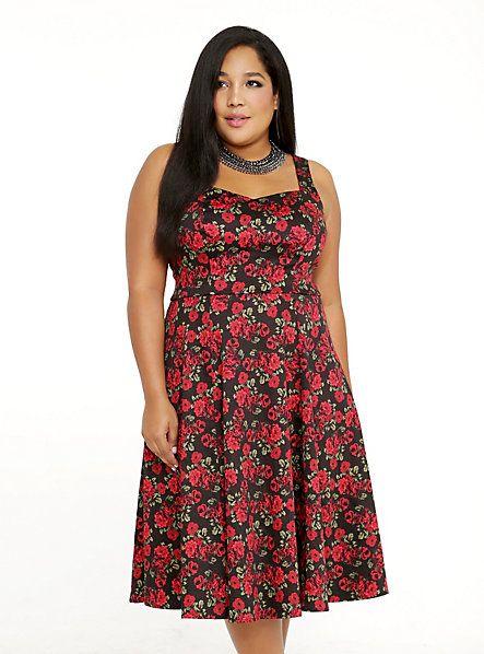 9e9364e0 Rose Print Sweetheart Swing Dress | Torrid | Fashion | Sleeveless ...