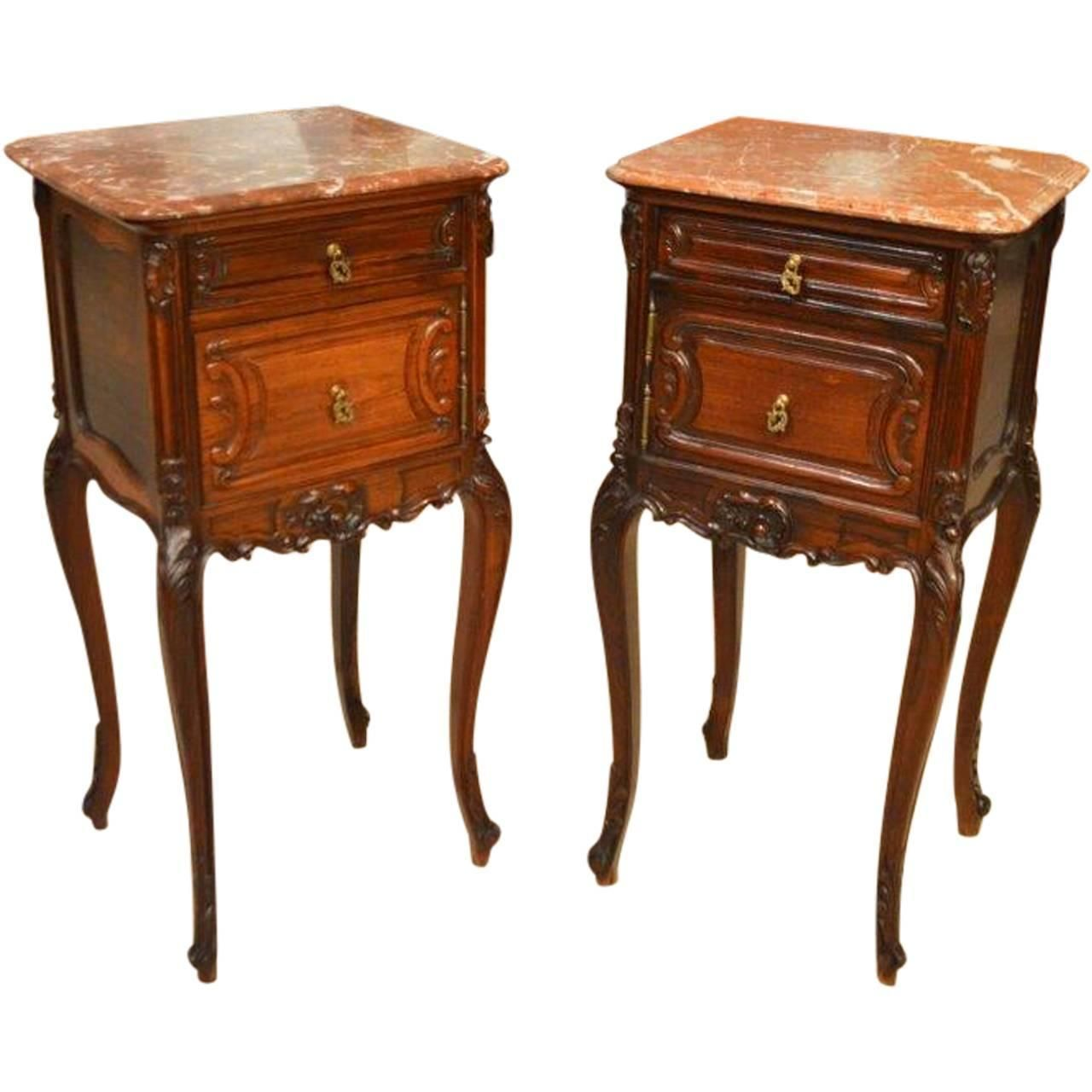 Superior Pair of Rosewood French Rococo Antique Bedside