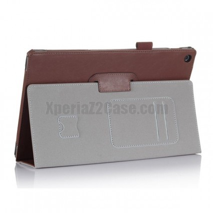 Leather Slot Smart Cover Case With Stand for Xperia Z2 Tablet Brown xperia z2 tablet case