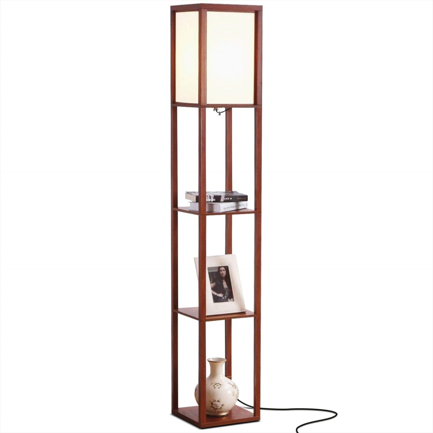 Brightech Maxwell Modern LED Shelf Floor Lamp Skinny
