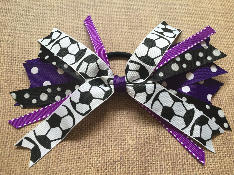 Ha hair bow ribbon wholesale - Custom Team Colors Volleyball Hair Ties Volleyball Hair Bow Volleyball Ribbons Purple And Black Volleyball Sport Hair Bow