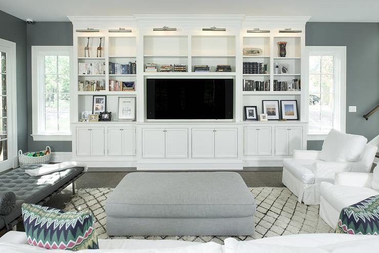 White And Charcoal Gray Living Room Features A A Pair Of White Slipcovered  Chairs Facing A Gray Part 83