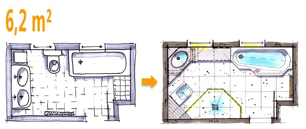 Badplanung Beispiel 6,2 Qm Außergewöhnliche Komplettbad-idee ... Kleines Badezimmer Grundriss