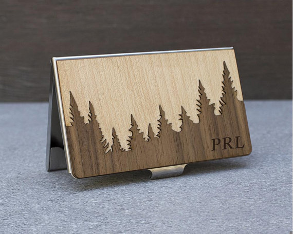 5fb55cf01dd A wooden business card case is a classy way to carry your essentials.  Replace your bulky wallet entirely, or throw in your basics and bills for a  night out.