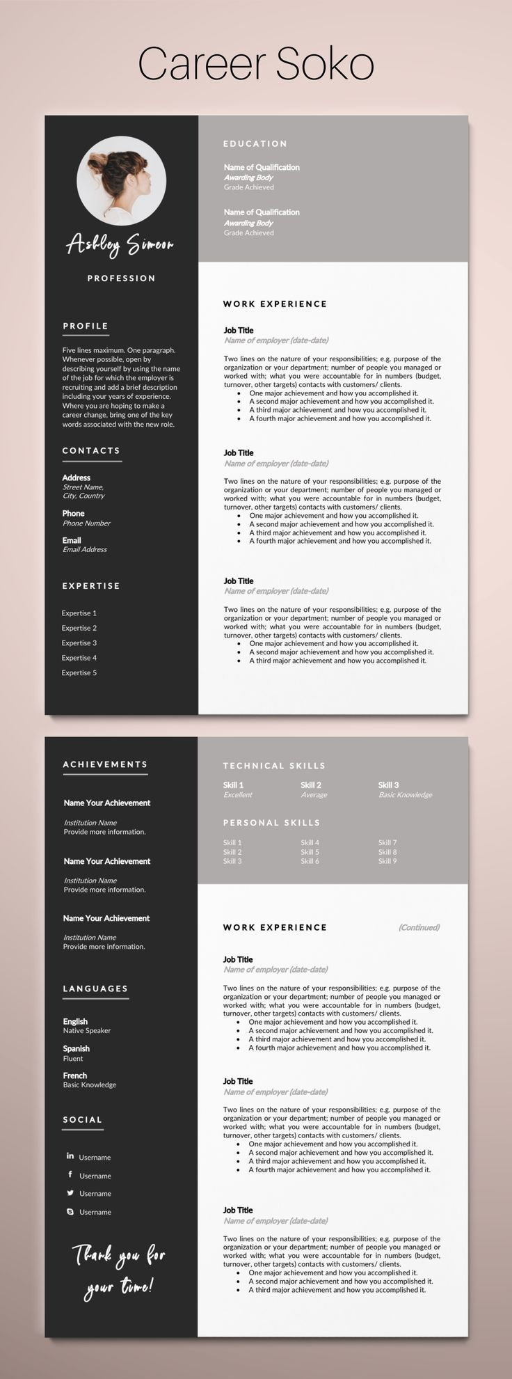 Resume Template Word CV Template Curriculum Vitae 2 Page