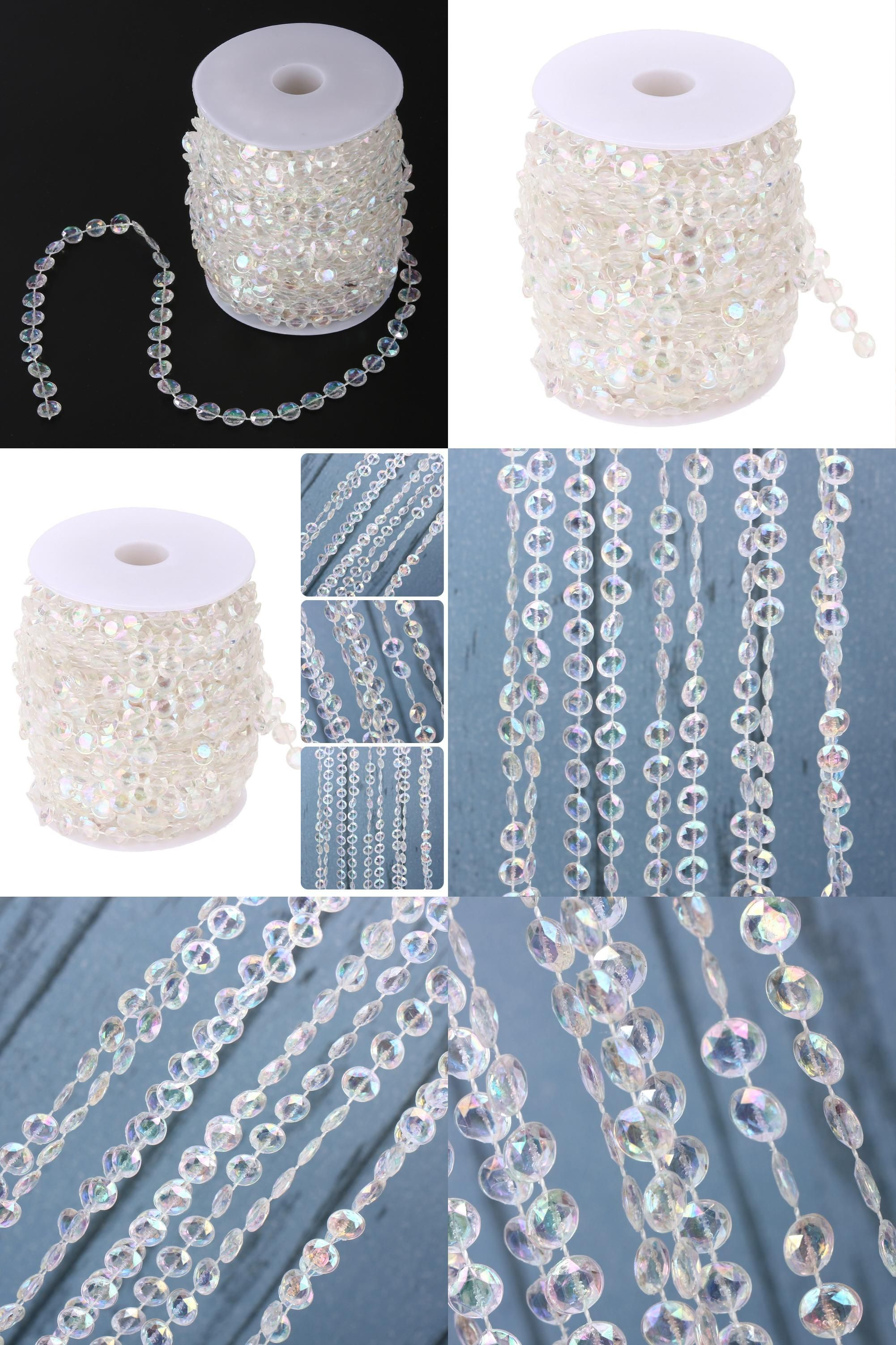 [Visit To Buy] 30M Acrylic Crystal Curtain Garland Diamond Acrylic