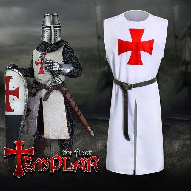 Takerlama Meidieval Traje Hospitaller Caballeros Templarios Túnica Capa  Cinturón Gótico Rojo Blanco Cruz LARP traje de Cosplay dcf3f9d2a1d