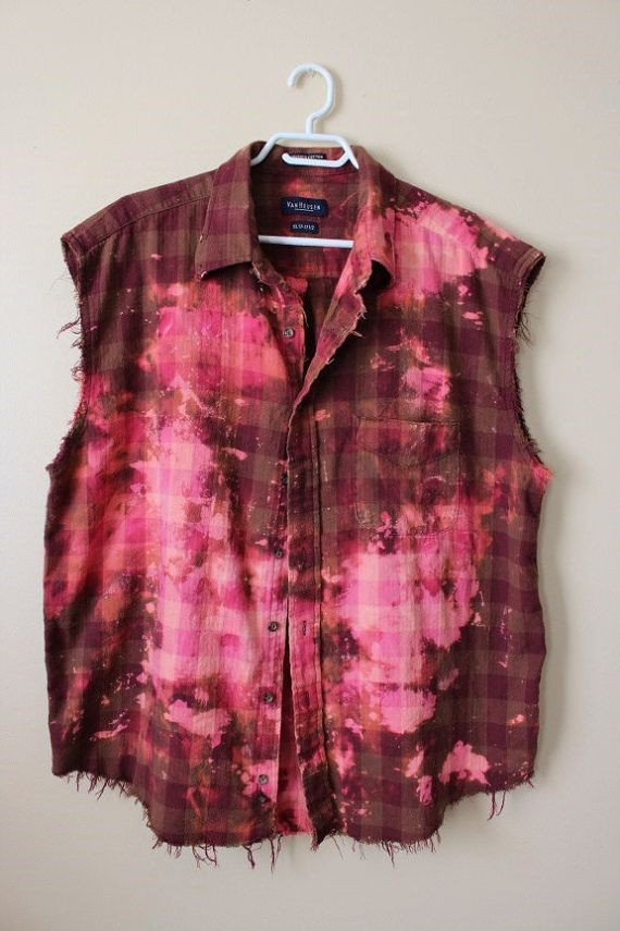 This shirt is a great 90s vintage plaid, brushed cotton so it feels a bit like flannel. Its a vintage 90s Van Heusen brand burgundy red plaid that weve distressed and splatter bleached. Weve done all the hard work for you, its beautifully frayed and aged strategically all over the shirt - collar, bottom hem, arms holes, etc. Heres your info on it - - Size X Large, check measurements - Across chest flat, pit to pit - 26 (52 around) - Shoulder seam down, front - 29 - Shoulder seam down , ...