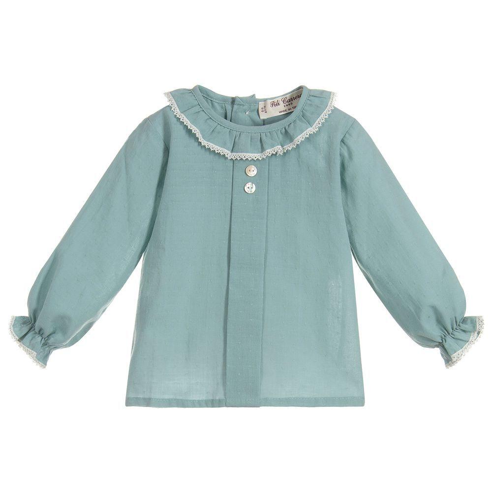c16404bc23e8 Baby Girls Blue Cotton Blouse