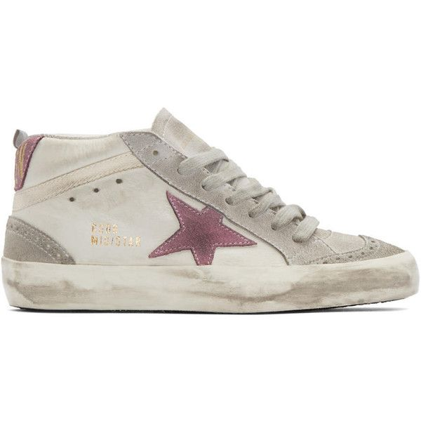 4598dfaa65f3 Golden Goose White and Grey Mid-Star Sneakers (3.850 NOK) ❤ liked ...