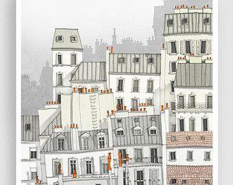 Paris Montmartre purple  Paris illustration Drawing Art | Etsy