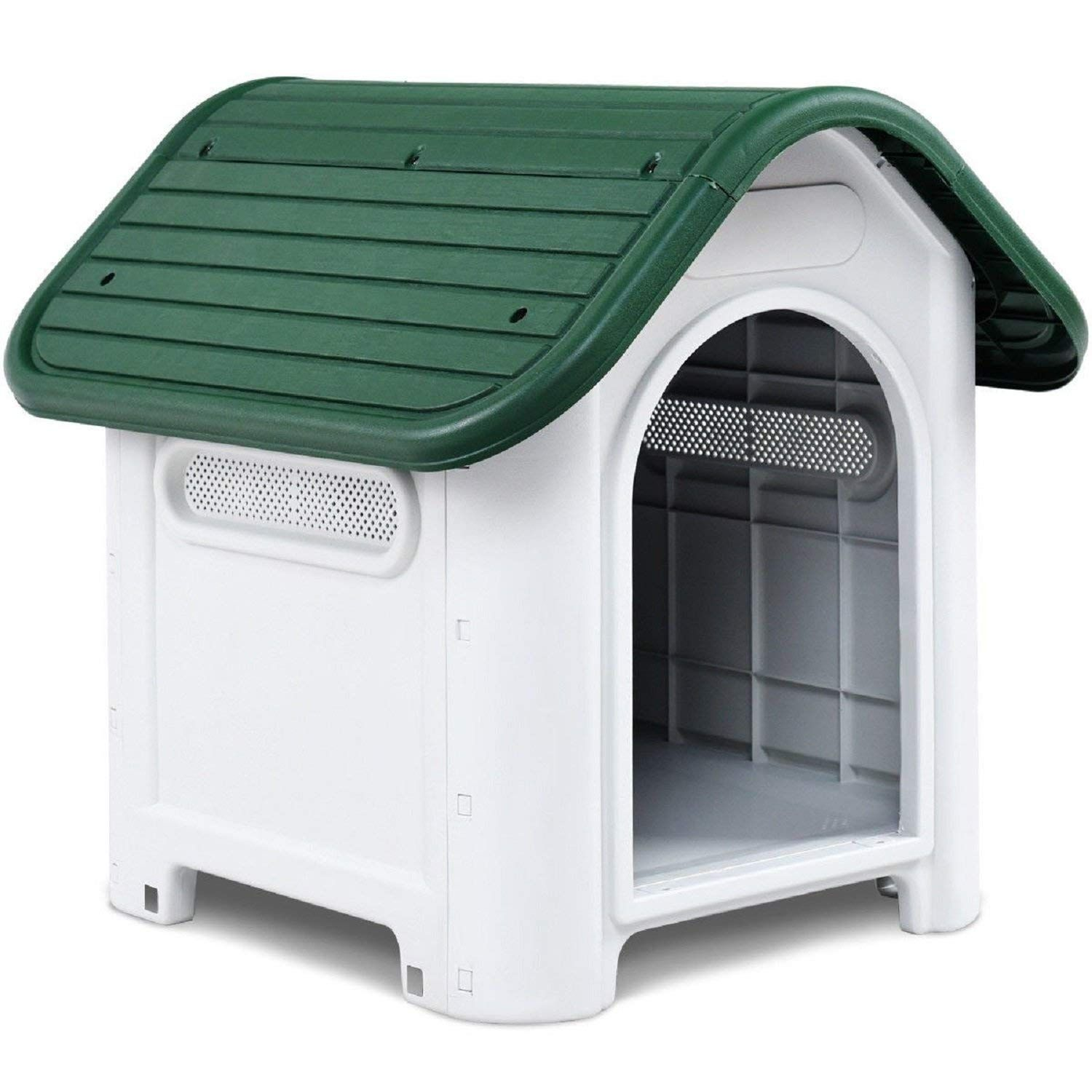 Costway Plastic Dog House Waterproof Puppy Pet Shelter Green