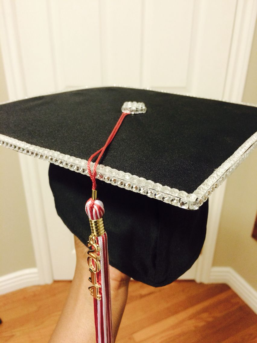 how to decorate graduation cap is that simple. Simple Yet Classy Rhinestone Graduation Cap Design. Decorated How To Decorate Is That E